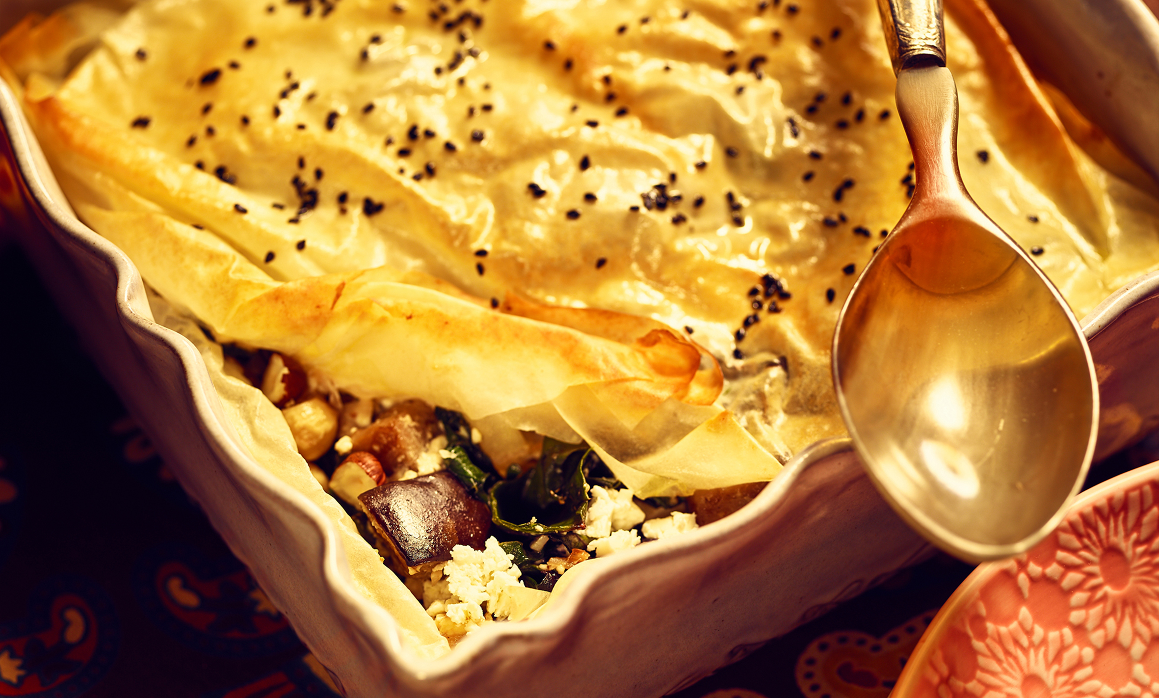 Borek of chards with eggplant and feta cheese - Recipe BCook